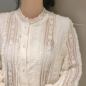 Sweet Style Fashion Stand Pearl Button Shirts Autumn Long Sleeve Lace Women Blouses Office Ladies Solid Vintage Spliced Tops