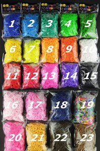 Melhor qualidade 23 cores Tear Bandas Teares Colar de borracha Loom Pulseiras (600 bandas + 24 clipes) em stock 4 Dias Tempo de entrega rápido!