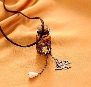 Necklaces Pendants Long retro Necklaces Wooden cork carved wishing bottle necklace