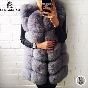 FURSARCAR 70 centímetros longo real Fox Fur Vest para as mulheres couro genuíno Coats Inverno Feminino Fox Fur Jacket de luxo Casacos Customize201016