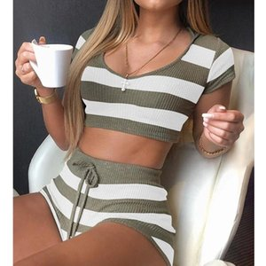 Wepbel Short Sleeve Crop Tops + Shorts Suit Knitting Women Pajama Sets Army Green Home Leisure Female 2 Piece Set Outfits Y1229