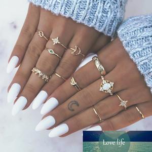 Bague Femme Vintage Geometric Flower Rings for Women Boho Crystal Knuckle Gold Ring Set Bohemian Midi Finger Indian Jewelry
