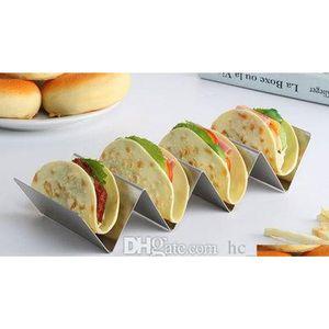 Elegante supporto in acciaio inox Taco Stand Taco Truck Tray Style Mexican Food Rack Forno Cassaforte per la cottura Lavastoviglie LVQHC