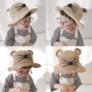 여름 모자 유아 아동 차양 모자 고양이 귀 손으로 짠 밀짚 모자 베이비 소프트 통기성 어린이 모자 아기