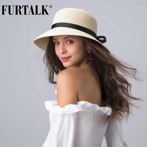 Furtalk Summer Beach Hut für Frauen Stroh Sun Hat1