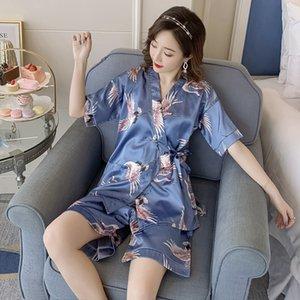 2019 Hot Summer Silk Satin Shorts Kimono Pajama Set for Women Short Sleeve V-neck Pyjama Sleepwear Homewear Pijama Mujer Clothes Y0112