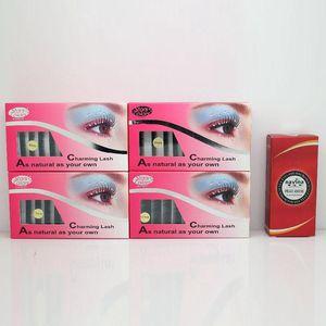 Hot Sale 4 Cases False Eyelash Extension+1 Piece Navina Eyelash Glue Lash Extension Brand Makeup Eye Beauty Special Offer
