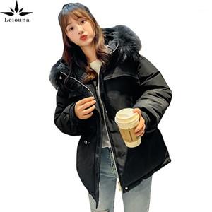 Leiouna inverno novo branco parka quente pele casaco com capuz mulheres sólidas slim casual streetwear algodas moda jaquetas1