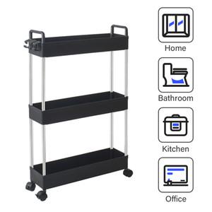 WACO Kitchen Slim Storage Cart, 3 Tier Bathroom Organizers Slide Out Storage Shelves Mobile Shelving Unit Organize Rolling Utility Cart