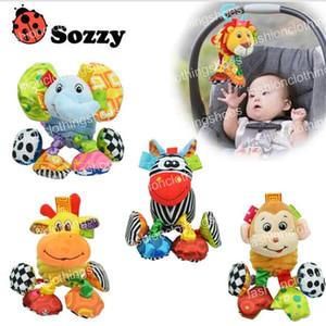 Toy Lion Sozzy bebê vibrou Animal Plush Rattle dobra som 18 centímetros Macio Stuffed Multicolor Toy Multifunction