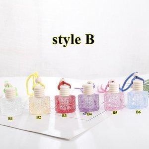 Coche Perfume Botella Colgante Aceite Esencial Difusor Adornos Coloridos Ambientador Colgante Vacío Perfume Botella de vidrio Decoración colgante FWA2060