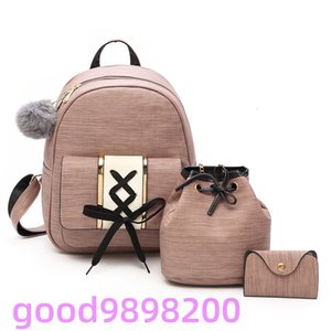 Amberler Women PU Leather Backpacks High Quality School Bags For Teenage Girls Travel New Ladies Shoulder 3 Pieces Set Bag