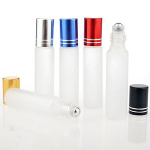 New 10ML Travel Frosting Glass Roll on Perfume Bottle For Essential Oils Empty Parfum Containers With Steel Beads LX3736