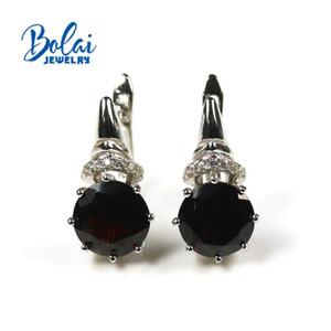 4CT naturais até Garnet preto simples fecho brincos 925 prata fina de pedras preciosas brinco design agradável elegante para Bolai menina