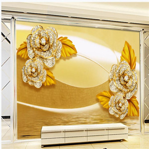 New luxury jewelry flower embossed wallpapers living room TV background wall 3d stereoscopic wallpaper