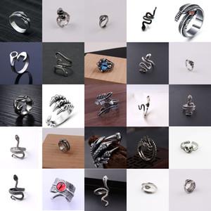 25pcs lot Punk Retro Gothic Snake Animal Vintage Jewelry Men Women Fashion Stainless Steel Punk Open Snake Adjustable Ring Jewelry Wholesale