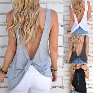New Arrival Summer Women Sexy Sleeveless Backless Shirt Solid Knotted Tank Tops Blouse Sexy Vest Tops Open Back Tshirt Camis