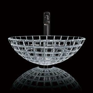Mosaico Design Pattern rotonda Bagno Vessel fatto a mano Articolo Lavabo dispersore di vetro temperato cascata nero
