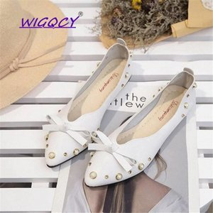 Butterfly-knot String Bead flat shoes women 2018 Spring Autumn Rivet Pointed Shallow Microfiber Slip-On Casual ladies shoes #eu1o