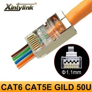 xintylink 50U EZ rj45 connector cat6 jack rg rj 45 ethernet cable plug rg45 cat5e STP 8P8C cat 6 network shielded modular cat5