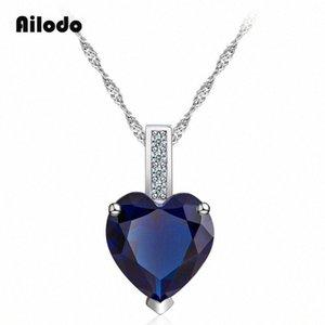 Collar Ailodo colgante de cristal del corazón para las mujeres del color de plata largo Enlace Declaración de cadena de la joyería collar de regalo de la manera LD072 i67U #