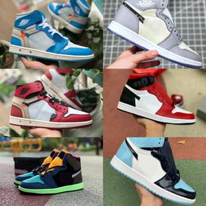 2021 Nuovo Travis Scotts X air jordan 1 off Nike X High OG Mid Scarpe da basket economici Royal Banned Bred Black White Toe Uomo Donna 1s V2 Presto Scarpe