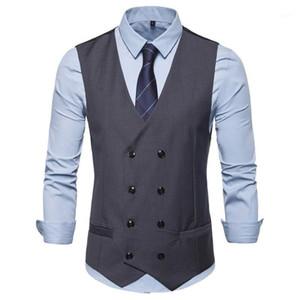 Men Double Breasted Vest Spring Men Dress Suit Vest Autumn Formal Gray Suit Gilet Slim Business Jacket Tops homme1