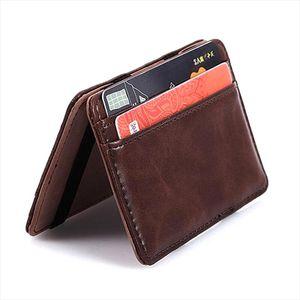 PU Leather Magical Flip Purse Bifold Wallet Ultra Slim Minimalist Billfold, Credit Card Holder ID Case Change Wallet
