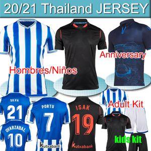 Real Sociedad 2020 21 David Silva Oyarzabal Bautista Portutu Jerseys Camiseta de Futbol Anniversary Hombres Niños Kit adulte Shirts