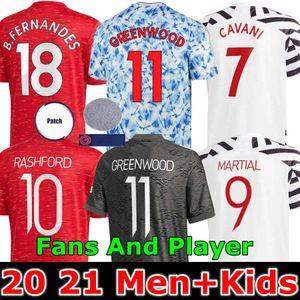 Versione giocatore del Manchester 2020 2021 B.FERNANDES unito shirt uomo di calcio calcio HRFC Jersey RASHFORD scherza il pullover 20 21 Utd Tops attrezzature