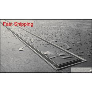304 Stainless Steel 60cm Tile Insert Rectangular Linear Anti-odor Floor Drain Bathroom Hardware Invi qylcEX sports2010