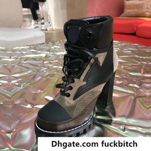 High Heeled Martin Stiefel Winter Grobe Ferse Frau Schuhe Wüstenstiefel 100% Echtleder High Heel Boots Schnüren High Heels Große Größe 35-42