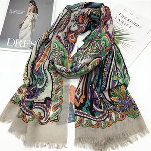 New style good quality 52% silk 48% cashmere material print flowers Thin and soft long scarves for women big size 200cm - 70cm