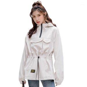 Fmfssom mujeres otoño nuevo casual rompevientos ladys manga larga chaqueta con capucha hembra streetwear slim chackets1