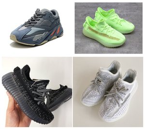 New Kids 2020 Shoes Kanye West corredor da onda Israfil Yecheil Preto Running Shoes Trainers For Kids Baby Boy Girl With Box