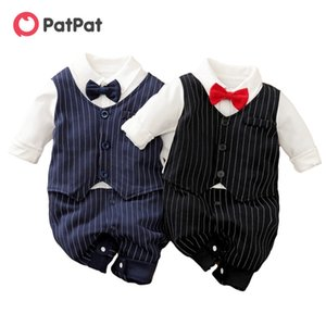 Patpat New Spring and Autumn Baby Boy Gentleman Bow Tiove Striped Turtsuit One Pezzi Body Baby Boy Vestiti 201127