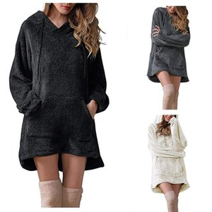 Fleece Casual Dresses Womens Designer Long Sleeve Hooded Hoodies Dress With Pocket Autumn Winter Solid Color Pullover Women Dresses