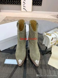 Lsabel La scatola originale delle donne del progettista scarpe Isabel Marant Studded Stivaletti Lamsy Genuine Leather Parigi Runway Fashion Boots