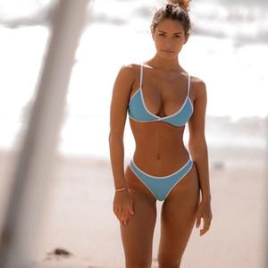 Sexy Fashion Solid Color Bikini Frauen Nylon Dreieck Split Swimwear Sommer-Strand-Backless Badeanzug-Bikini-S-XL