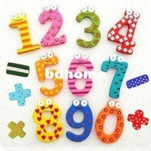 Yeni 10 Ahşap 10 Şekil Numaraları + 5 Noktalama İşaretleri Bebek / Çocuk Eğitim Aracı Renkli Buzdolabı Çubuk Mıknatıs Geek dolabı Mıknatıslar Gi sXj5 #