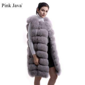 pink java QC8032 women coat winter luxury fur jacket real fox fur vest long vest natural fox gilet hot sale high quality 201112