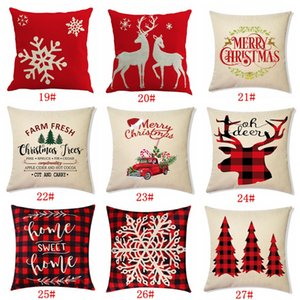 27 Designs fronha de Papai Noel Árvore de Natal do boneco de neve Elk Pillow Case Cover Pillow Home colorida Sofá Car Decor Pillowcase DBC BH4383