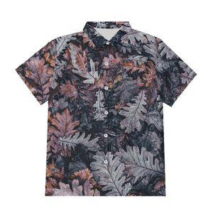 Tamaño IFPD UE / EEUU retro 3d hojas muertas Botón Shirts Hombres Mujeres Moda Planta de impresión en 3D camiseta de verano más el tamaño de Harajuku Streetwear