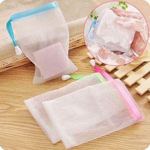 2pcs / lot 9.5 * 15 centímetros de suspensão Nylon Soap malha saco de malha líquido Espuma de Limpeza sabão de banho de líquido luvas de limpeza banhar KdFO #