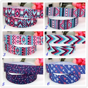 7 8'' Free shipping tribal arrow printed grosgrain ribbon hairbow headwear party decoration diy wholesale 22mm D498 201006