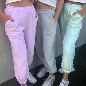 Frauen Jogginghose Baggy Grau Sport-Hosen-Jogger Wide Leg Maxi-Street mit hohen Taille Hose Weibliche Hosen