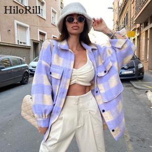 Brasão com bolsos Batwing manga comprida soltos Jacket Turn Down Collar Ladies Casual HiloRill Mulheres de lã xadrez Tops Casacos 201007