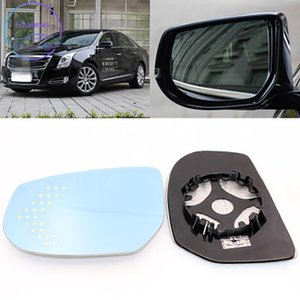-Sideview Rear Mirror Lens For Cadillac XTS Blue Glass With Heating Function&Turn Signal LED Light Large Vision Anti-Glare