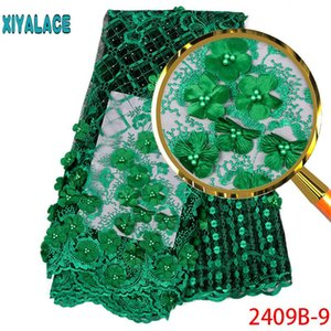 Hot sale African Lace Fabric 2020 Tulle Lace Fabric With Beads High Quality African Nigerian Women For 5yards PGC2409B-1