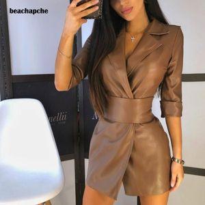 Beachapche Mulheres Sexy Pu Negócios Leather Jacket Collar Suit Cintura cor sólida V-neck Vestido